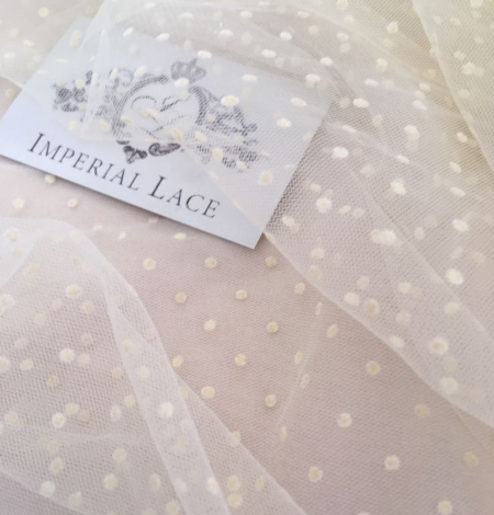 Creme color tulle fabric with dots. Photo 5
