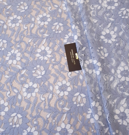 Greyish blue with white floral pattern guipure lace fabric. Photo 1