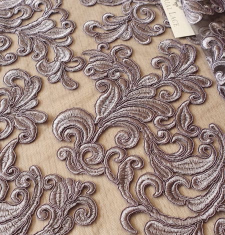 Grey embroidery lace fabric. Photo 4