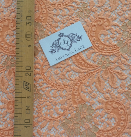 Orange lace fabric. Photo 5