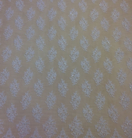 Off white beaded  lace fabric. Photo 2