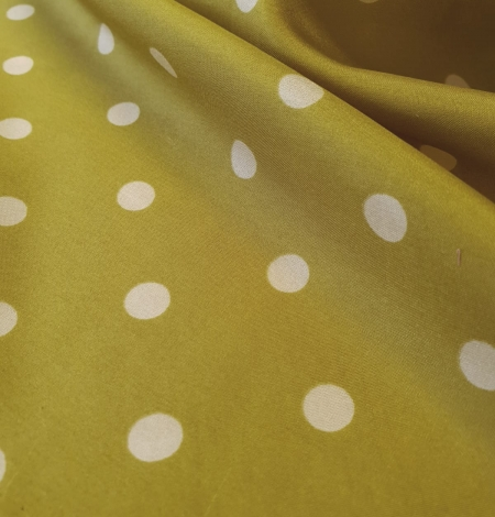 Olive green white dotted silk lining fabric. Photo 7
