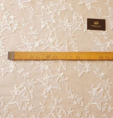 Ivory 100% polyester star pattern embroidery on tulle with beads and chantilly details lace fabric. Photo 10