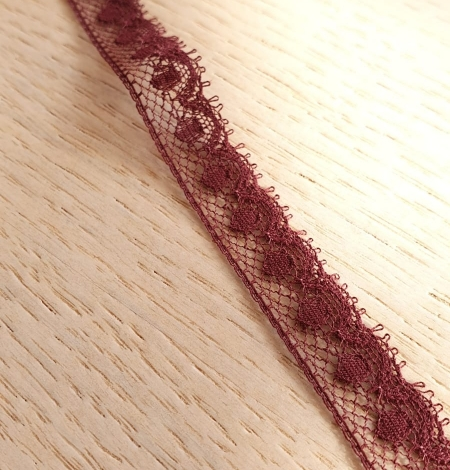 Wine red chantilly lace fabric. Photo 2