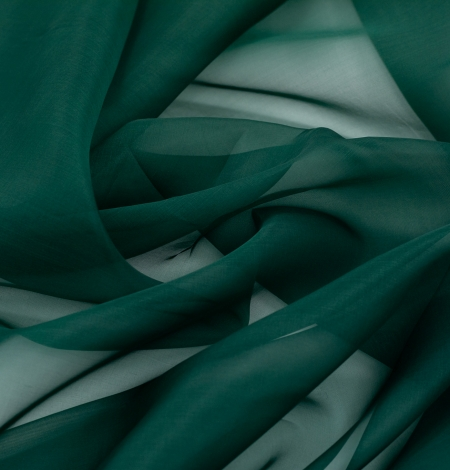 Emerald green silk organza fabric. Photo 6