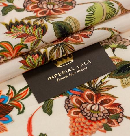 Multicolor floral printed silk crepe fabric. Photo 1