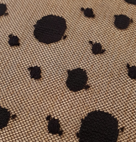 Black 100% polyester abstract circle pattern tulle fabric. Photo 5