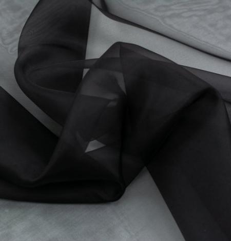 Black silk organza fabric . Photo 8