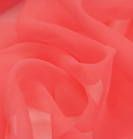 Coral orange silk organza fabric. Photo 4