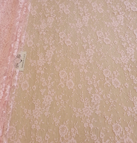 Pink cotton chantilly lace fabric. Photo 2