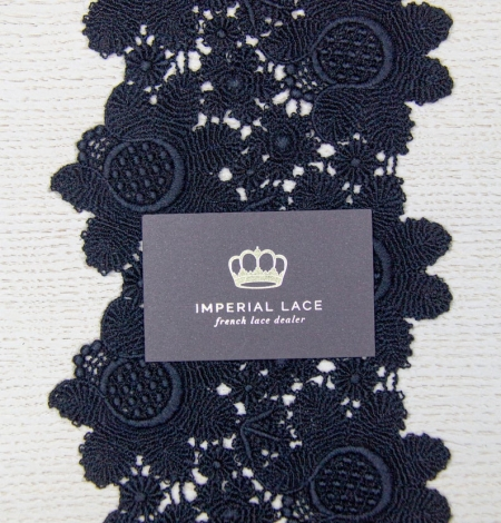Black floral pattern thick macrame lace trimming. Photo 6