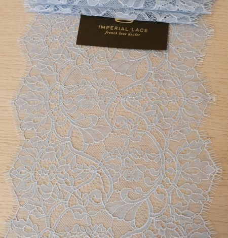 Light blue floral pattern chantilly lace trimming. Photo 3