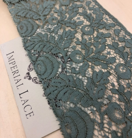 Blue-green with grey shade vintage style lace trim. Photo 2