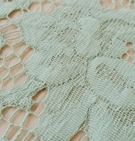 Mint green cotton guipure lace fabric . Photo 4