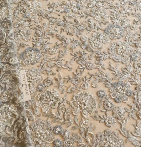 Grayish green beaded lace fabric. Photo 1