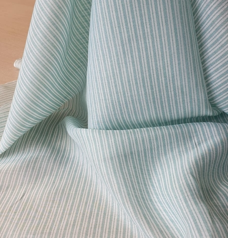 Blue stripes with white viscose fabric. Photo 7