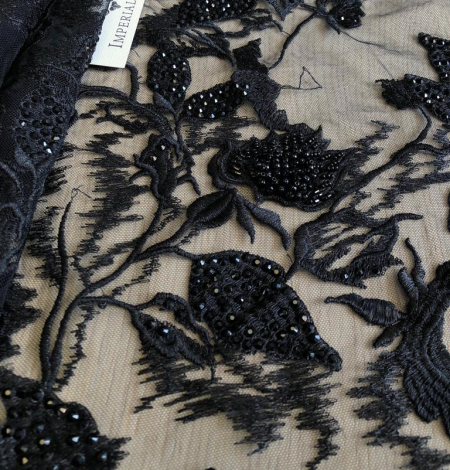 Black beaded lace fabric. Photo 4