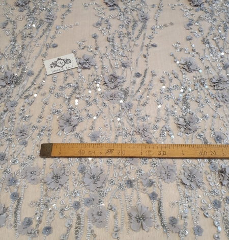 Gray with grayish brown flowers 3D lace fabric. Photo 7