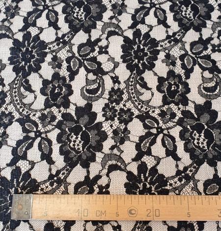 Black viscose chantilly lace fabric. Photo 8