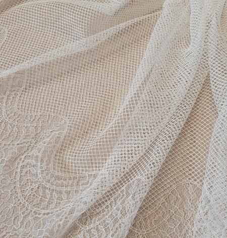 Ivory cotton chantilly lace fabric by Jean Bracq. Photo 6