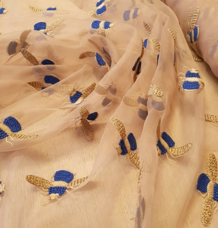 Beige with golden blue bee embroidery on organza fabric. Photo 1