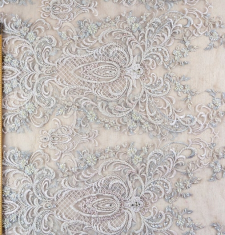 Beige embroidery on tulle fabric. Photo 7