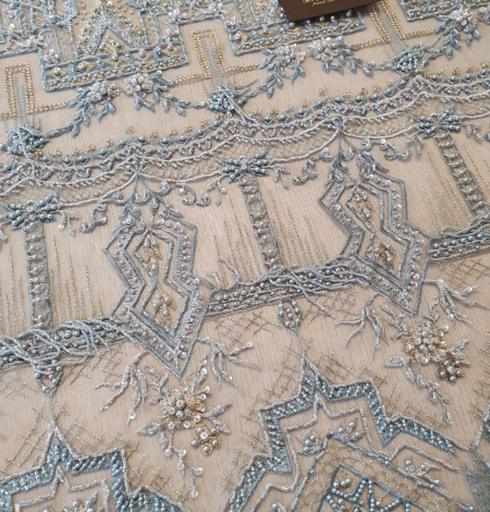 Greyish blue beaded with hanging details embroidery on tulle. Photo 4