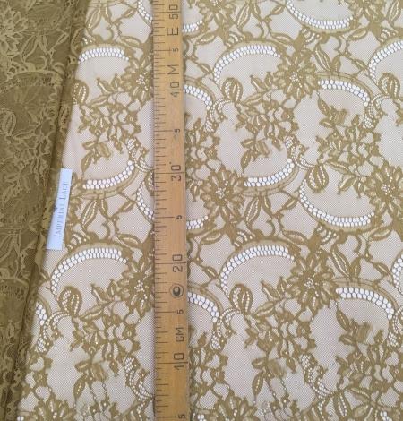 Khaki green lace fabric. Photo 9