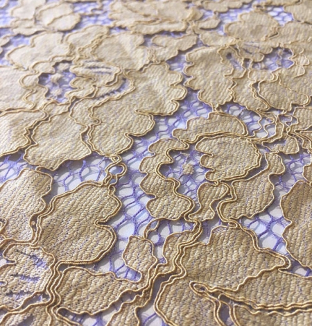 Olive with Purple Net Lace Fabric. Photo 2