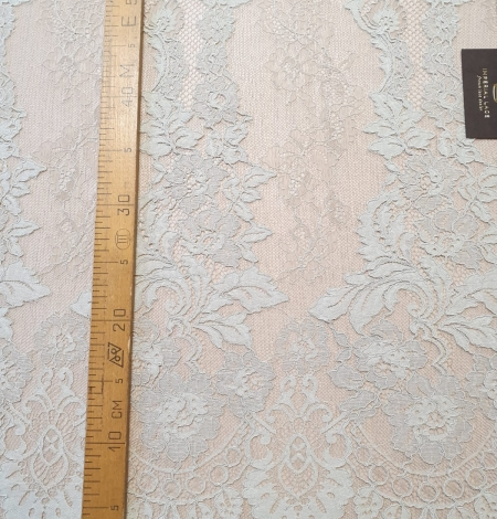 Mint on beige tulle guipure lace fabric. Photo 11