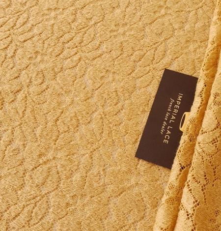 Mustard yellow 100% wool guipure lace fabric. Photo 2