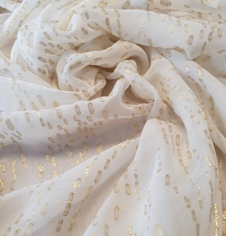 Ivory with gold dots silk crepe chiffon fabric. Photo 4