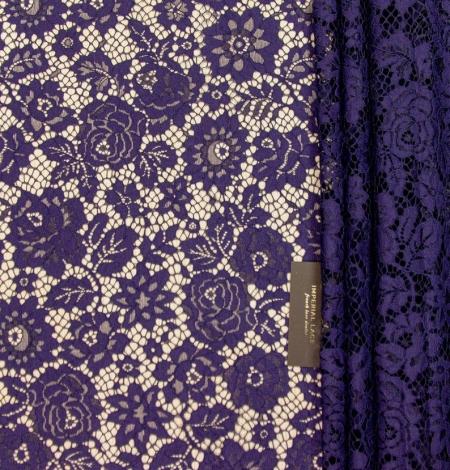 Dark purple floral guipure lace fabric . Photo 2