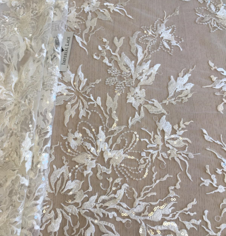 Ivory sequin embroidery lace fabric. Photo 5