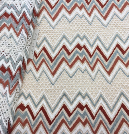 Multicolored lace fabric. Photo 1
