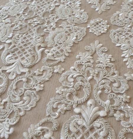 Luxury bridal beaded lace fabric. Photo 2