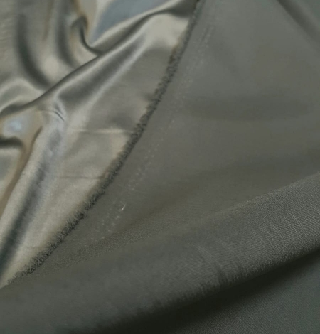 Olive polyester with elastane satin fabric. Photo 4