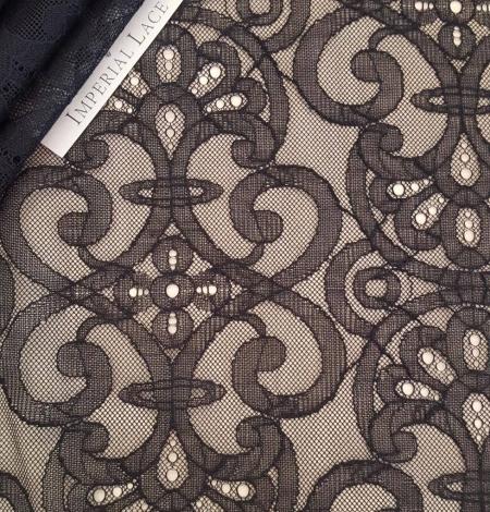 Black geometric lace fabric. Photo 1