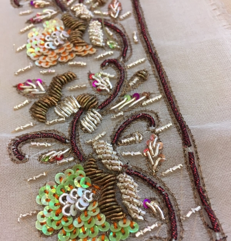 Hand made zardozi embroidery base on silk organza. Photo 2