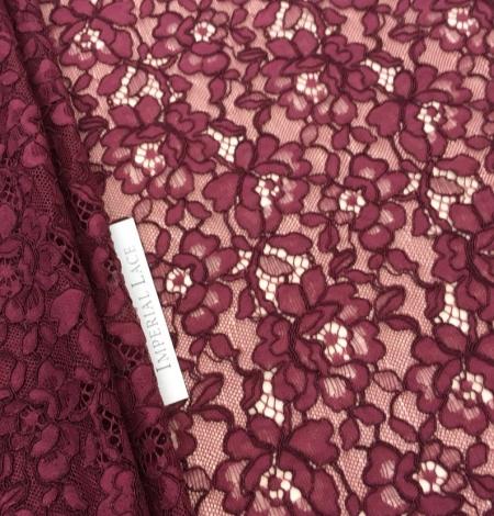 Bordo red floral alencon lace fabric. Photo 1