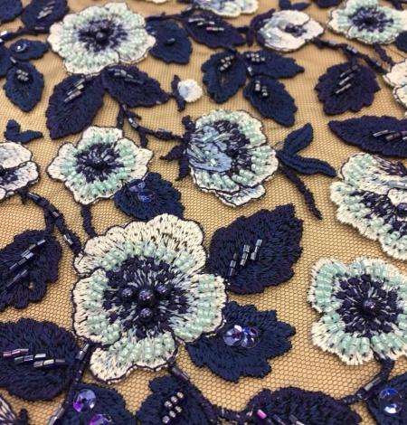 Multicolor beaded lace fabric. Photo 5