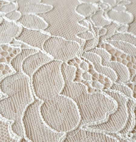 Ivory chantilly lace with thick thread lace fabric . Photo 3