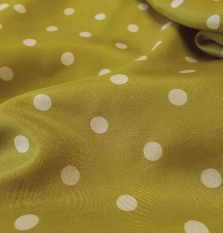 Olive green white dotted silk lining fabric. Photo 2