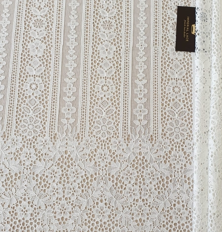 Ivory chantilly floral and stripes lace fabric. Photo 7