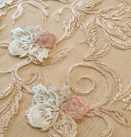 Multicolor floral 3D embroidery on beige tulle fabric. Photo 6
