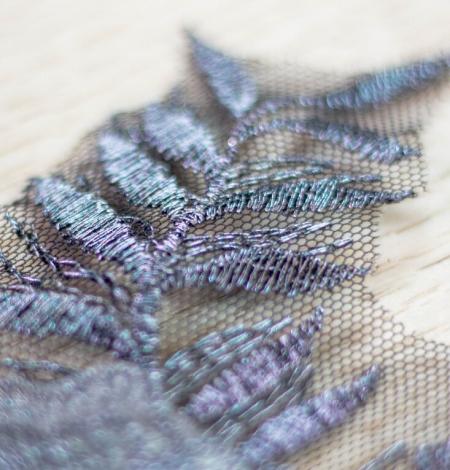 Dark grey 3D floral beaded lace applique 2 pcs set . Photo 4