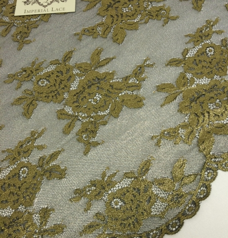 Black Lace Fabric with gold ink. Photo 4