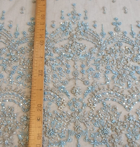 Grey blue beaded lace fabric. Photo 5