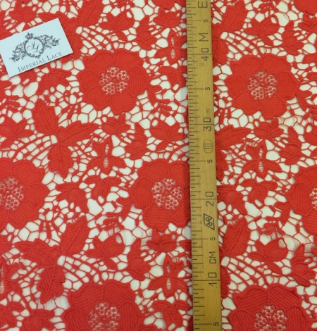 Coral orange macrame lace fabric. Photo 5