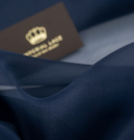 Dark blue silk organza fabric. Photo 2